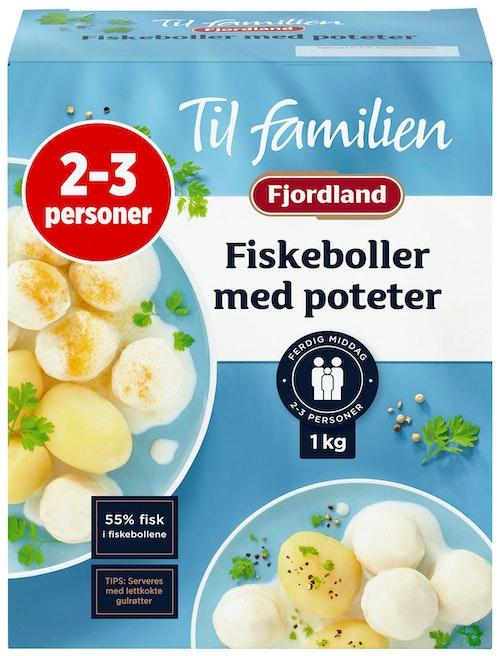 Fjordland Fiskeboller i Hvit Saus Med Poteter Familiepakkning, 1 kg