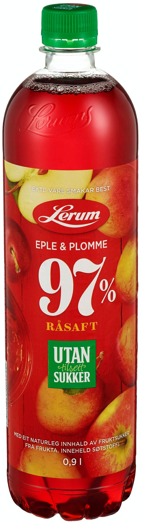 Lerum Eple & plommesaft Uten Tilsatt Sukker, 0,9 l