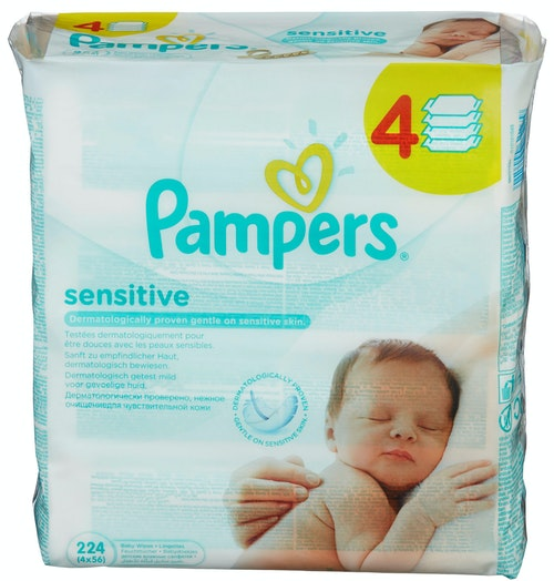 Pampers Sensitive wipes 4 pk, 224 stk