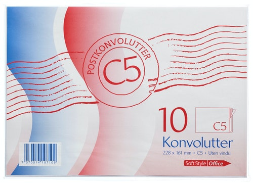 Konvolutter C5 Hvit, 10 stk