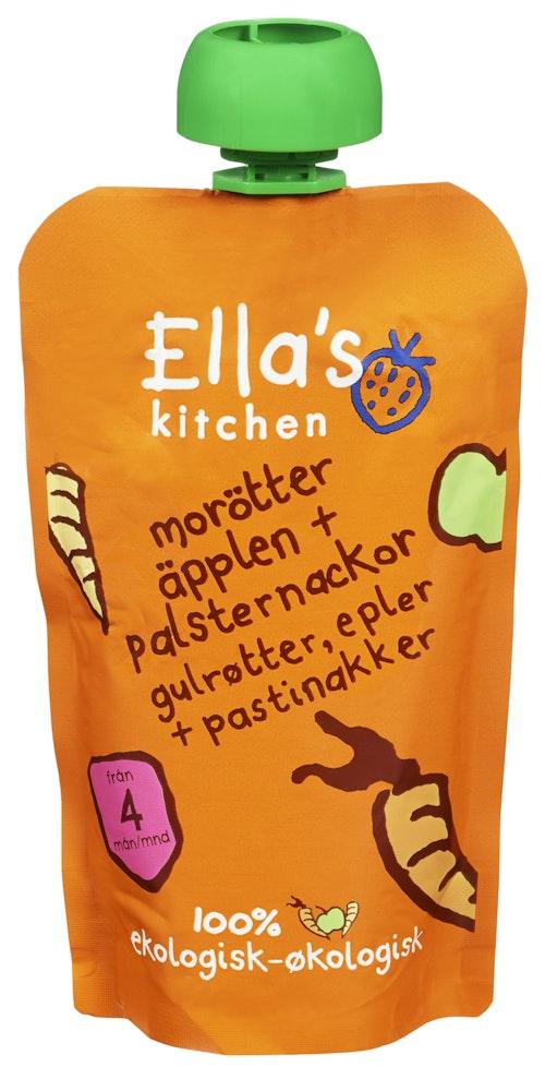 Ella's Kitchen Eple Gulrot + Pastinakk Økologisk, Fra 4 mnd, 120 g