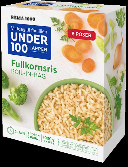 REMA 1000 Fullkornsris Boil-in-bag 8x125g, 1 kg