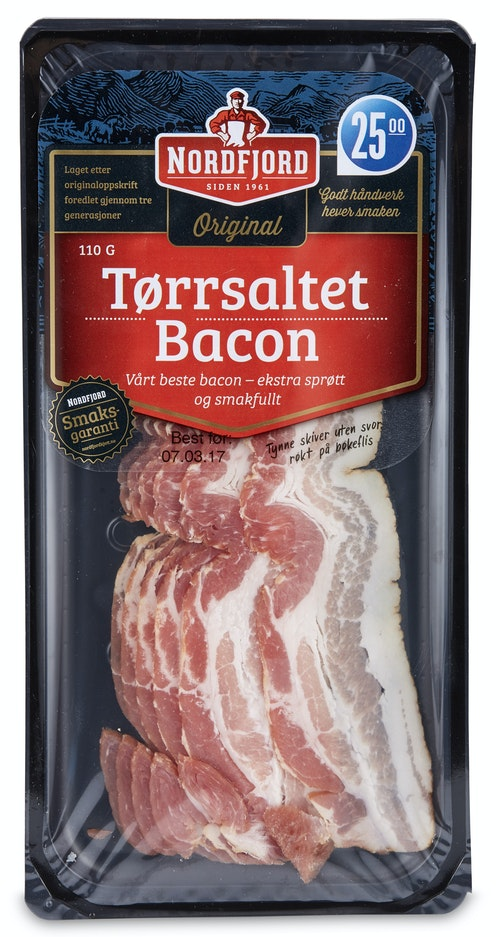 Nordfjord Tørrsaltet Bacon uten Svor 110 g