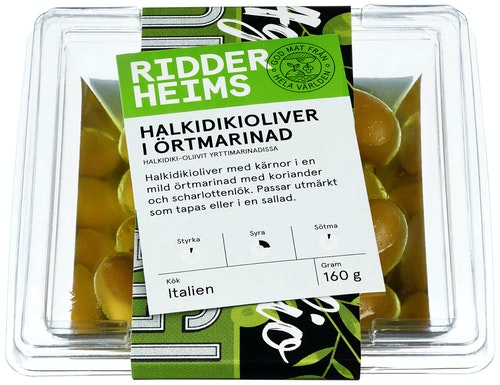 Ridderheims Halkidikioliven Med Urtemarinade, 160 g